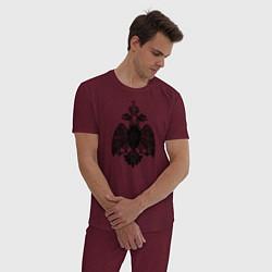 Пижама хлопковая мужская МЧС России двусторонняя цвета меланж-бордовый — фото 2