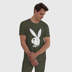 Пижама хлопковая мужская PLAYBOY цвета меланж-хаки — фото 2