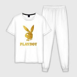 Пижама хлопковая мужская PLAYBOY GOLD цвета белый — фото 1