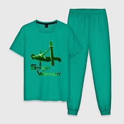 Пижама хлопковая мужская Street Workout Ласточка цвета зеленый — фото 1