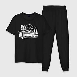 Пижама хлопковая мужская POPS цвета черный — фото 1
