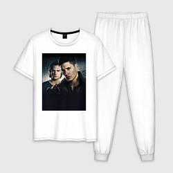 Пижама хлопковая мужская Winchester Brothers цвета белый — фото 1