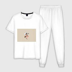 Пижама хлопковая мужская Спасибо, Юра! цвета белый — фото 1