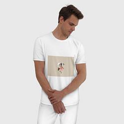 Пижама хлопковая мужская Спасибо, Юра! цвета белый — фото 2