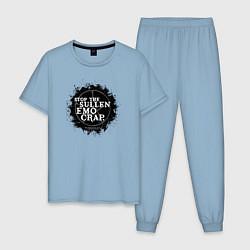 Пижама хлопковая мужская Stop The Sullen Emo Crap цвета мягкое небо — фото 1