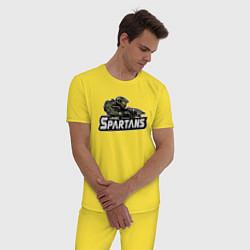 Пижама хлопковая мужская HALO цвета желтый — фото 2