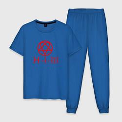 Пижама хлопковая мужская HIM LOGO RED цвета синий — фото 1