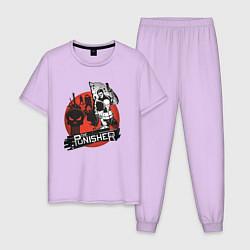 Пижама хлопковая мужская The Punisher цвета лаванда — фото 1