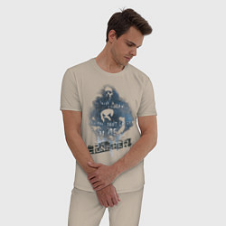 Пижама хлопковая мужская The Punisher цвета миндальный — фото 2