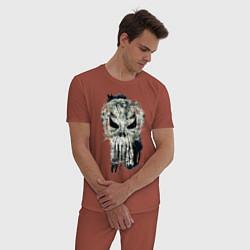 Пижама хлопковая мужская Каратель Череп цвета кирпичный — фото 2