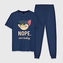 Пижама хлопковая мужская Nope not today цвета тёмно-синий — фото 1