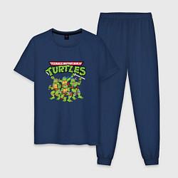 Пижама хлопковая мужская Черепашки-ниндзя цвета тёмно-синий — фото 1