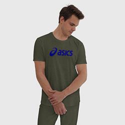 Пижама хлопковая мужская Asics Sport цвета меланж-хаки — фото 2