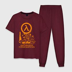 Пижама хлопковая мужская HALF-LIFE цвета меланж-бордовый — фото 1