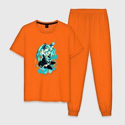 Пижама хлопковая мужская Хацуне Мику цвета оранжевый — фото 1