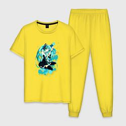 Пижама хлопковая мужская Хацуне Мику цвета желтый — фото 1