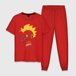 Пижама хлопковая мужская Капитан Марвел цвета красный — фото 1
