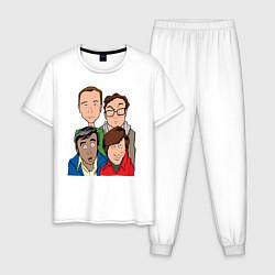 Пижама хлопковая мужская The Big Bang Theory Guys цвета белый — фото 1