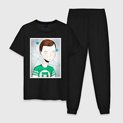 Пижама хлопковая мужская Sheldon Cooper цвета черный — фото 1