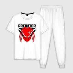 Пижама хлопковая мужская PREDATOR цвета белый — фото 1