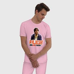 Пижама хлопковая мужская Rajesh цвета светло-розовый — фото 2