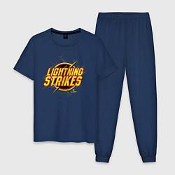 Пижама хлопковая мужская Lightning Strikes цвета тёмно-синий — фото 1