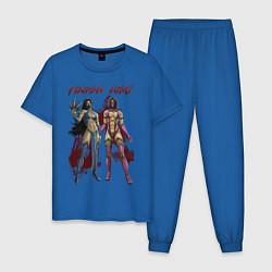 Пижама хлопковая мужская Kitana Mileena цвета синий — фото 1