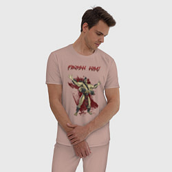 Пижама хлопковая мужская Goro цвета пыльно-розовый — фото 2