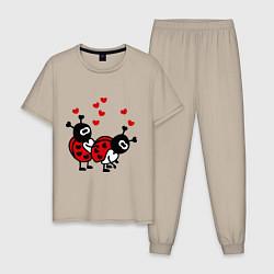 Пижама хлопковая мужская Секс-букашки цвета миндальный — фото 1