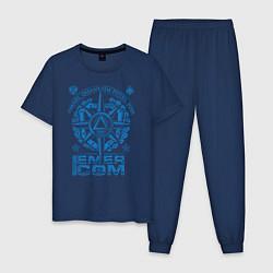 Пижама хлопковая мужская RUSSIAN EMERCOM цвета тёмно-синий — фото 1