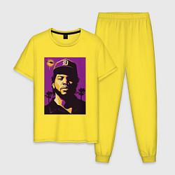 Пижама хлопковая мужская Ice Cube цвета желтый — фото 1