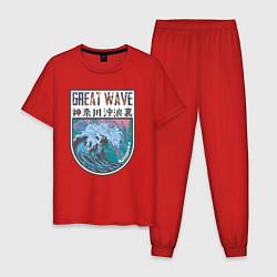 Пижама хлопковая мужская Vaporwave Kanagawa цвета красный — фото 1