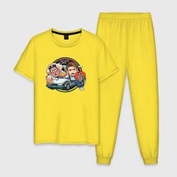 Пижама хлопковая мужская Back to the Future цвета желтый — фото 1