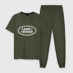 Пижама хлопковая мужская LAND ROVER цвета меланж-хаки — фото 1