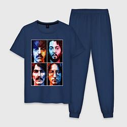 Пижама хлопковая мужская THE BEATLES цвета тёмно-синий — фото 1