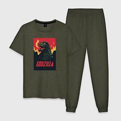 Пижама хлопковая мужская Godzilla цвета меланж-хаки — фото 1