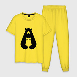 Пижама хлопковая мужская Медведь Z цвета желтый — фото 1