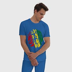 Пижама хлопковая мужская Раста лев цвета синий — фото 2