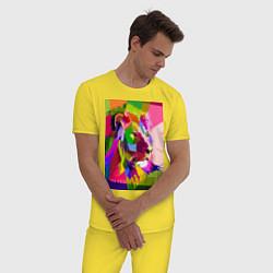 Пижама хлопковая мужская Лев цвета желтый — фото 2