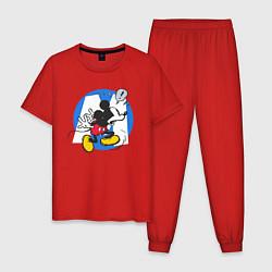 Пижама хлопковая мужская Микки Маус цвета красный — фото 1