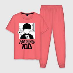 Пижама хлопковая мужская МОБ ПСИХО 100 цвета коралловый — фото 1