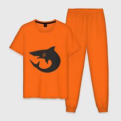 Пижама хлопковая мужская Акулы (Sharks) цвета оранжевый — фото 1