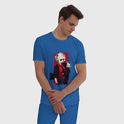 Пижама хлопковая мужская Justice Z цвета синий — фото 2
