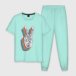Пижама хлопковая мужская PEACE LOVE HOPE Z цвета мятный — фото 1