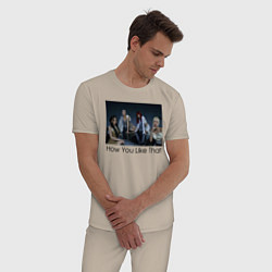 Пижама хлопковая мужская How You Like That цвета миндальный — фото 2
