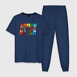 Пижама хлопковая мужская Justice League цвета тёмно-синий — фото 1