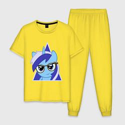 Пижама хлопковая мужская Trixie hipster цвета желтый — фото 1