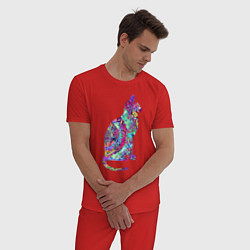 Пижама хлопковая мужская Красочная кошка цвета красный — фото 2