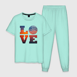 Пижама хлопковая мужская LOVE Volleyball цвета мятный — фото 1