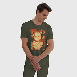Пижама хлопковая мужская Baby Pasta цвета меланж-хаки — фото 2